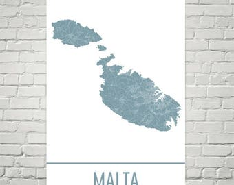 Malta Map, Malta Art, Malta Print, Malta Island Poster, Malta Gifts, Map of Malta, Mediterranean Islands, Mediterranean Decor