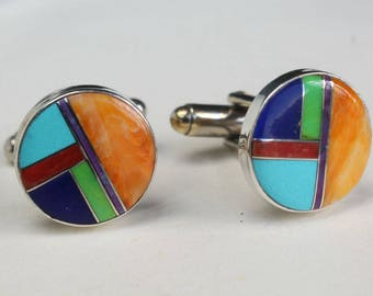 Sterling Silver Cuff Links Turquoise Gaspeite Spiny Oyster Coral Lapis Inlay Navajo Indian Native American