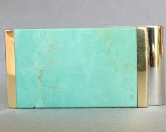 Money Clip Turquoise Gemstone Inlay Spring Steel