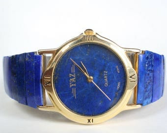 Natural Real Lapis Lazuli Larger Stone Watch Band Face Mens Womens