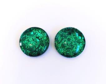 The 'Emerald Isle' Glass Glitter Earring Studs
