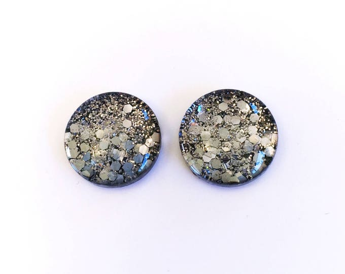 The 'Gunmetal' Glass Glitter Earring Studs