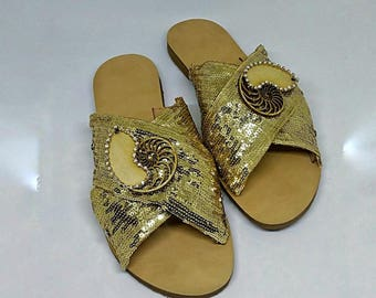 Leather sandals, Luxury Summer shoes, Summer Ladies sandals, Flat sandals, Fashion sandals, Paillets gold Sandals, Crossed strap slides!