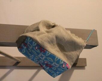 Linen and graphic print bento bag