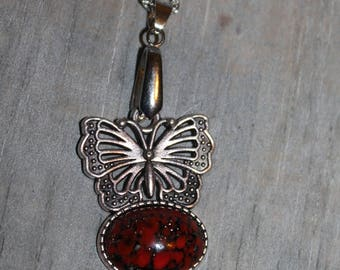 Butterfly Necklace old Czech red glass cabochon