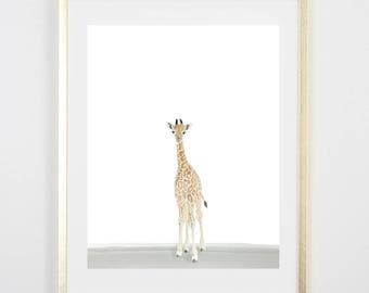 Baby Giraffe Watercolor Art Print / Nursery / Baby Boy / Baby Girl / Nursery Decor / Baby Animals
