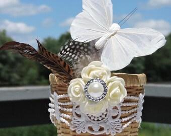 RUSTIC flower girl BASKET, barn wedding decoration, country wedding basket, barn wedding, rustic wedding decor, rustic wedding decoration