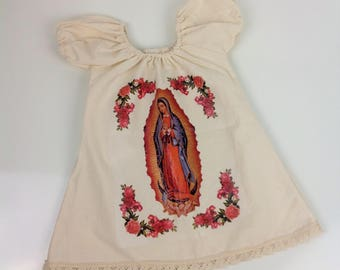 Our Lady of Guadalupe Mexican Dress Handmade Baby Toddler Girls Mexican handmade Dress Vestido Mexicano Different Sizes Virgen de Guadalupe