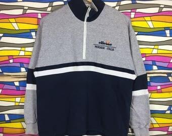 Rare!! ELLESSE Perugia Italia Sweatshirt Half Zipper