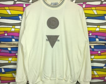 Rare!! DOLCE MARGARITA Spellout Crewneck White Colour LL Size Embroidered