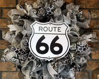 Route 66 Deco Mesh Wreath, Black, White and Silver Wreath, Route 66 Decor, Route 66 Wreath, Front Door Wreath, Speciality Wreath