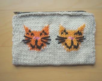 Happy Kitty Pouch - Handmade