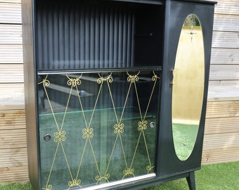 Upcycled Hubbinet Drinks Cabinet in ebonised finish with gold leaf top