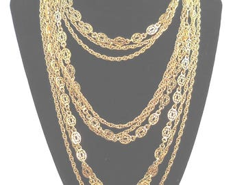 Vintage Monet Multi Strand Gold Toned Necklace