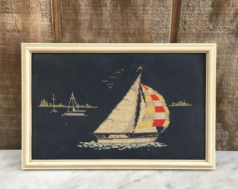 Vintage Sailboat Crosstitch Picture // Nautical Needlepoint // 1980's