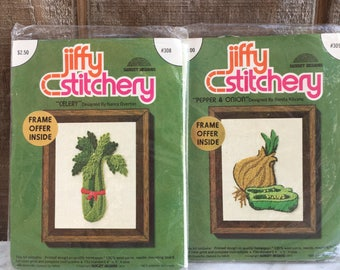 Jiffy Stitchery Crewel Vegetable Kits // Crewel Vegetable Celry and Pepper and Onion Kits // Unopened // 1974
