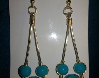 Gold and beaded orbital drop earrings