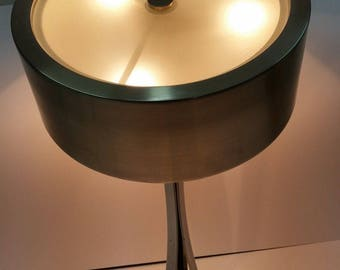Space age table lamp satin Steel vintage years 60 's modern design