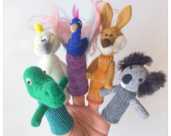Wool felted and knitted finger wool puppets Australia's animals/animals of Australia - set of finger puppets