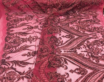 2 Way Stretch Fabric - Burgundy Embroidered Sequins Lace Fashion By The Yard