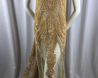 Embroidered Beaded Fabric - Gold Lace Heavy Beads By The Yard For Bridal Veil Flower Mesh Dress Top Wedding Decoration