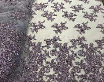 Lace Fabric - Lilac Embroider Beaded Heavy Beads For Bridal Veil Flower-Floral Mesh Dress Top Wedding Decoration By The Yard