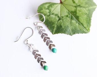 Earrings KRISTEN - Silver 925 and Chrysocolla - Collection JOYCE (minimalist, ears, semi precious stone chain)