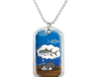 Cat Dreaming of Fish Military Dog Tag Pendant Necklace with Chain