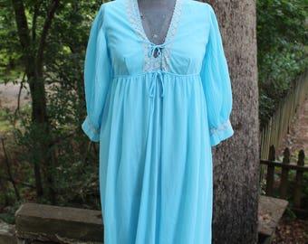 Vintage 60's Aqua Blue Peignoir Set Nylon