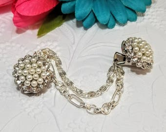 Rhinestone and Faux Pearl Sweater Clip, Cardigan Clip, Collar Clip, Sweater Clip, Sweater Guard, Sweater Closure, Sweater Clasp
