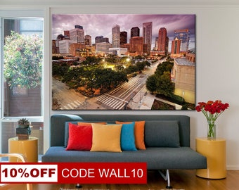 Houston, City wall art, Houston canvas, Texas wall art, Texas canvas, City canvas, Cityscape canvas, City wall art, Cityscape wall art