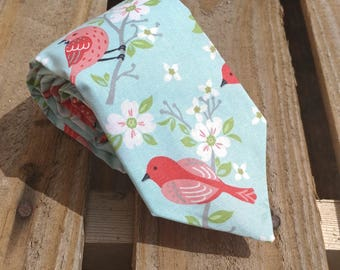 Red Birds on Cherry Blossoms, Bird Necktie, Nature Necktie, Flower Necktie