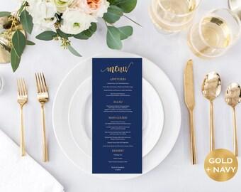 Menu Card Template - Navy and Gold Wedding - Printable Wedding Menu - Simple Dinner Menu Card - DIY Menu - Downloadable wedding #WDH812305