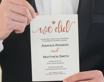 Elopement Announcement - Marriage Announcement  - We Did - Rose Gold Wedding Invitation - Editable Text - Downloadable wedding #WDH812259