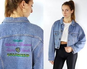 DENIM JACKET / Jean Jacket / Cropped Denim Jacket / Cropped Jean Jacket / 80s Denim Jacket / 80s Jean Jacket / Blue Jean Jacket / Grunge