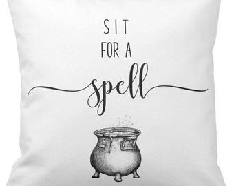 "Halloween Pillow Cover WITH Insert, ""Sit For a Spell"", Throw Pillow, Decorative Pillow, Accent Pillow, 16"" X 16"", Ready to Ship!"