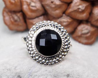 Natural Black Onyx 925 Sterling Silver Ring, Genuine Ring, Birthday and holiday Gift, US Size 7 1/4, J615