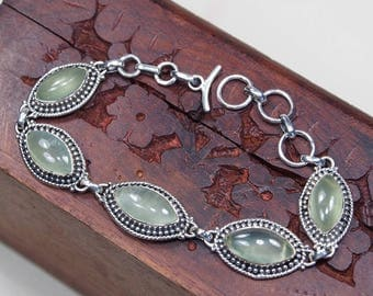 "Green Prehnite Bracelet, 925 Sterling Silver,Genuine Natural Prehnite Jewelry,Gift for her,FINE jewelry Party Birthday Gift 7"" S994"