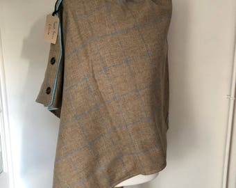 Tweed and fleece poncho, tweed wrap, ladies poncho, ladies gift.