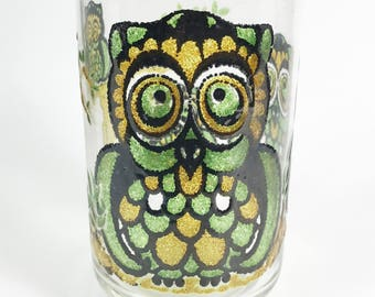 Vintage Libbey Owl Tree Beverage Drinking Glasses in Hostess Box circa 1970s - Set of 8