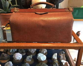 Antique brown leather doctor bag