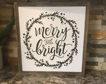 "Reclaimed Wood 12"" Square Merry & Bright"