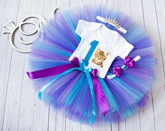 Purple blue tutu Kitten birthday kitten tutu Cat tutu Cat outfit First 1st Birthday tutu outfit Birthday Tutu Set baby tutu 1 from Europe