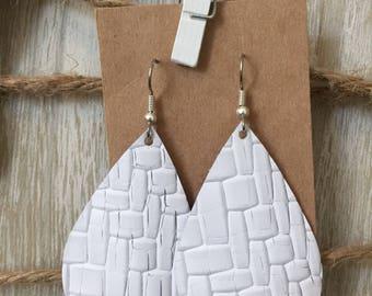 White Basket Weave Leather Earrings