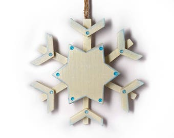 Holiday Snowflake, Christmas Snowflake, Winter Decoration, Hanging Wooden Snowflake, White Sparkling Snowflake