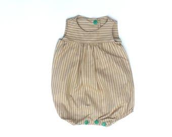 Avery Romper - Size 0-3 months - Green Beige Stripe