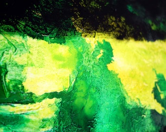 "Abstract XXL 40"" x 40"" inch green yellow black heavy texture cool modern large canvas painting"
