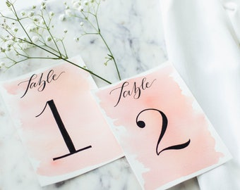 Table Number with Watercolor Wash and Black Calligraphy // Hand Lettered Table Numbers, Watercolor Wash Table Numbers, Wedding Calligraphy