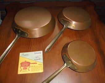 Vintage Set of 3  Douro B & M Copper Frying Pans