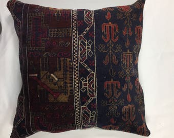 Persian Carpet Cushion Cover, 60x60 cm, 24x24 in Antique Vintage Boho, Decorative, Kilim, Kelim Pillow Moroccan, Turkish, Ethnic, Rug London
